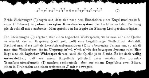"""Aus der Vorlesung """"Wellenausbreitung und Relativität"""" von Hartwig Thim"""