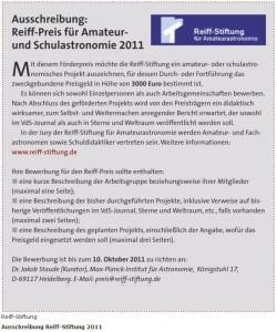 Reiff-Preis 2011, Credit: astronomie-heute.de