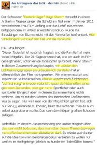 """Straubingers Stellungnahme zum Tod von """"Anna Gut"""" auf facebook"""