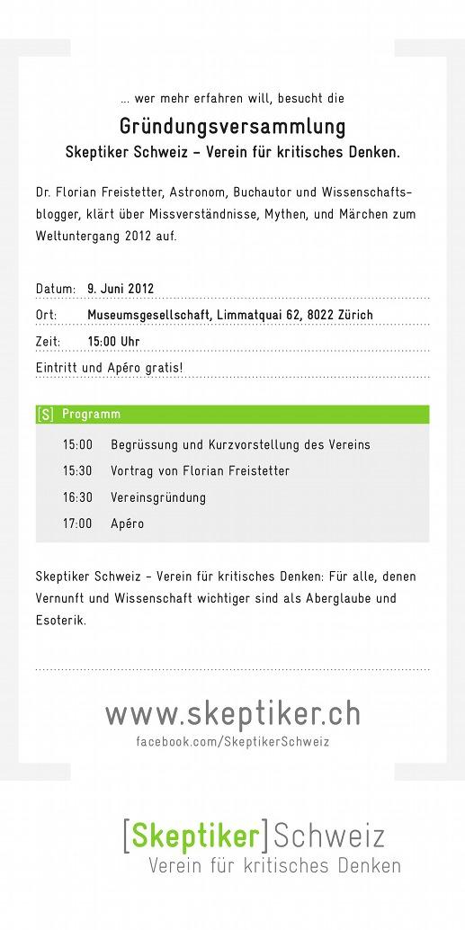 Skeptiker Schweiz Gründungsversammlung Flyer Seite 2
