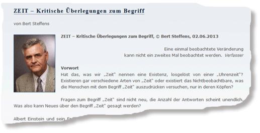 Bert Steffens, Blog Kritische Stimmen zur Relativitätstheorie, 2013