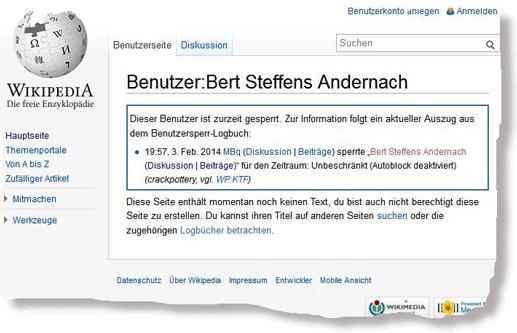 Bert Steffens: Sperrung bei wikipedia.de, 03.02.2014