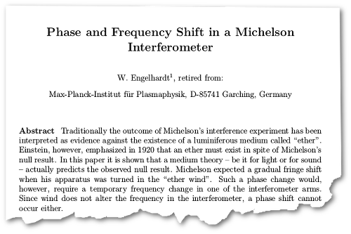 "Engelhardt, W., ""Phase and Frequency Shift in a Michelson Interferometer,"" Natural Philosophy Alliance, 2011"