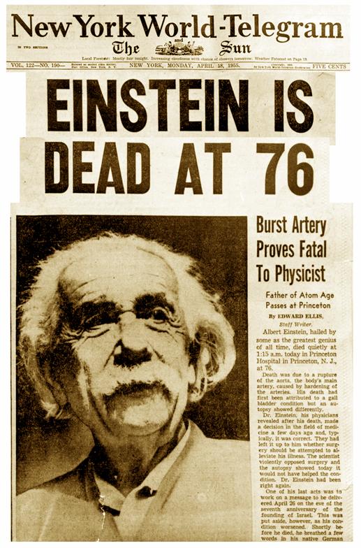 """""""Einstein ist tot"""", 18.04.1955 (Collage)"""
