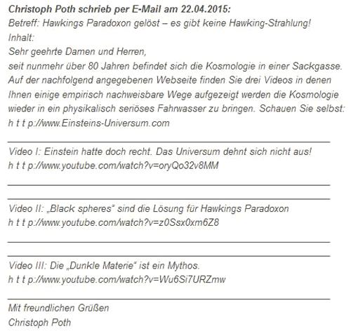 Deutschsprachige Version der E-Mail vom 22.04.2015)