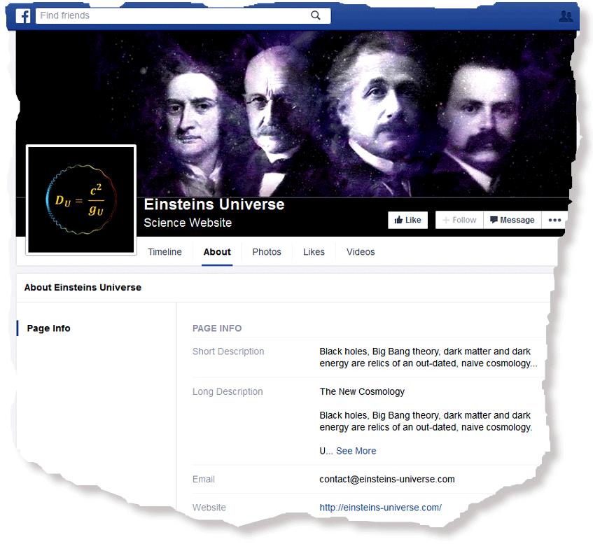 """Christoph Poth, """"Einsteins Universe"""" bei facebook"""