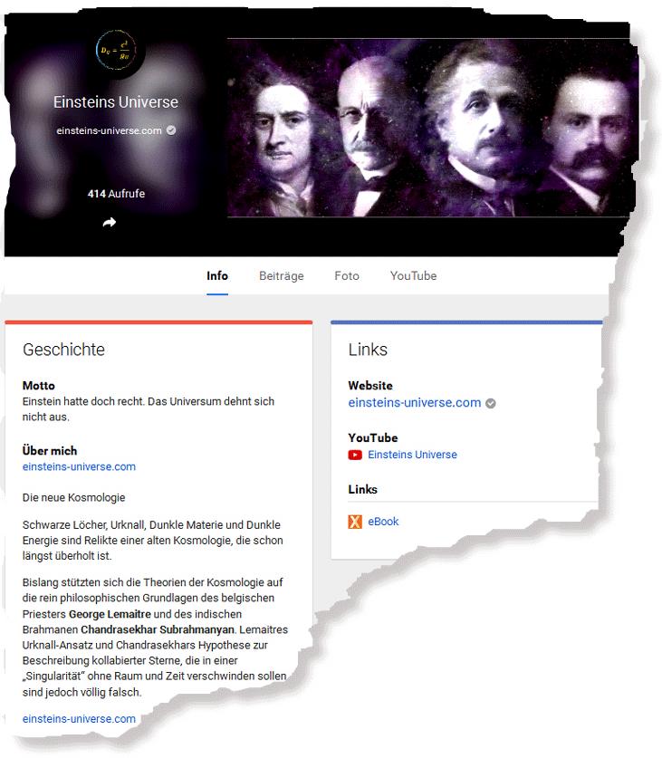 """Christoph Poth, """"Einsteins Universe"""" bei Google+"""