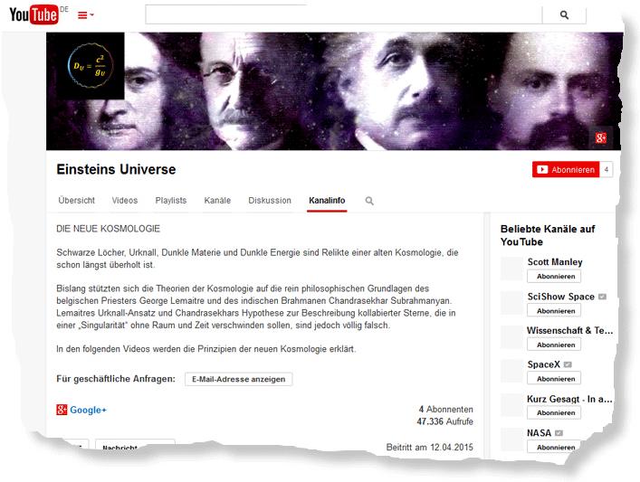 """Christoph Poth, """"Einsteins Universe - Die neue Kosmologie"""" bei YouTube"""