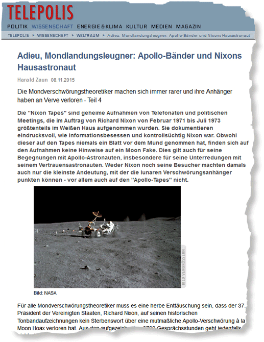 "Harald Zaun - ""Adieu, Mondlandungsleugner: Apollo-Bänder und Nixons Hausastronaut"""